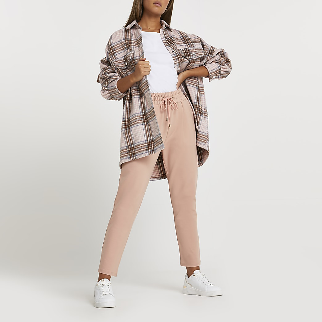 Pink ponte pleated joggers