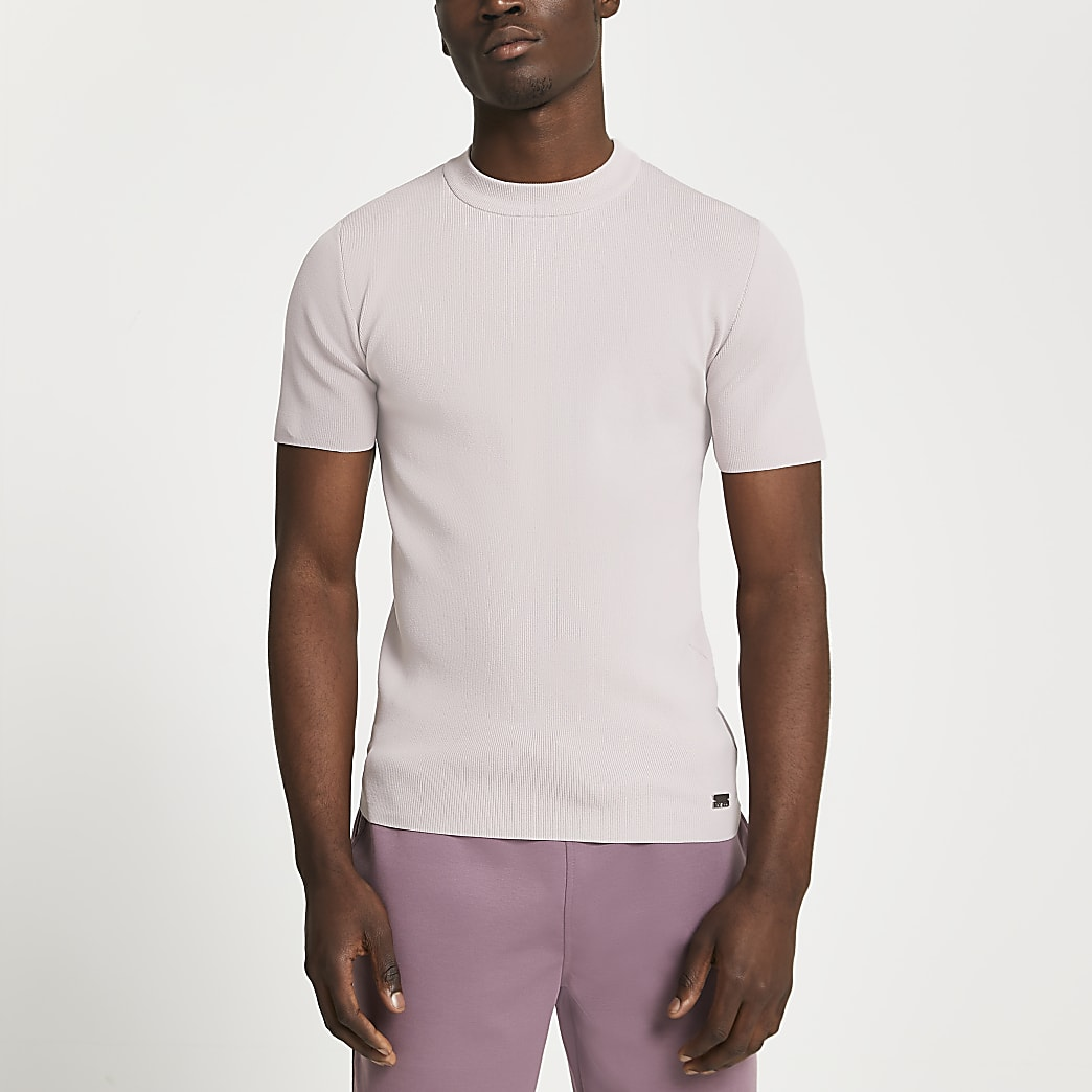 Pink premium knitted slim fit t-shirt