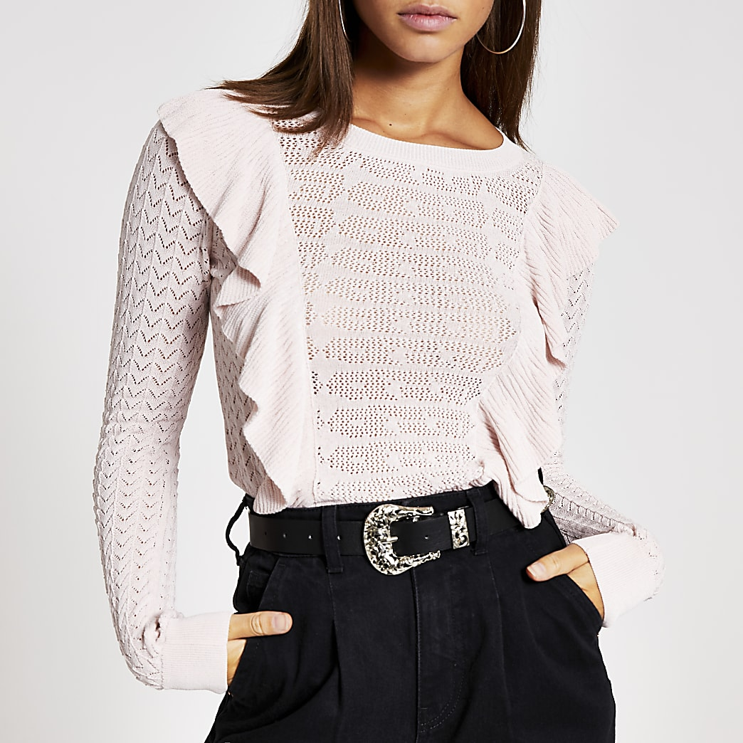 Pink pretty stitch long sleeve frill top