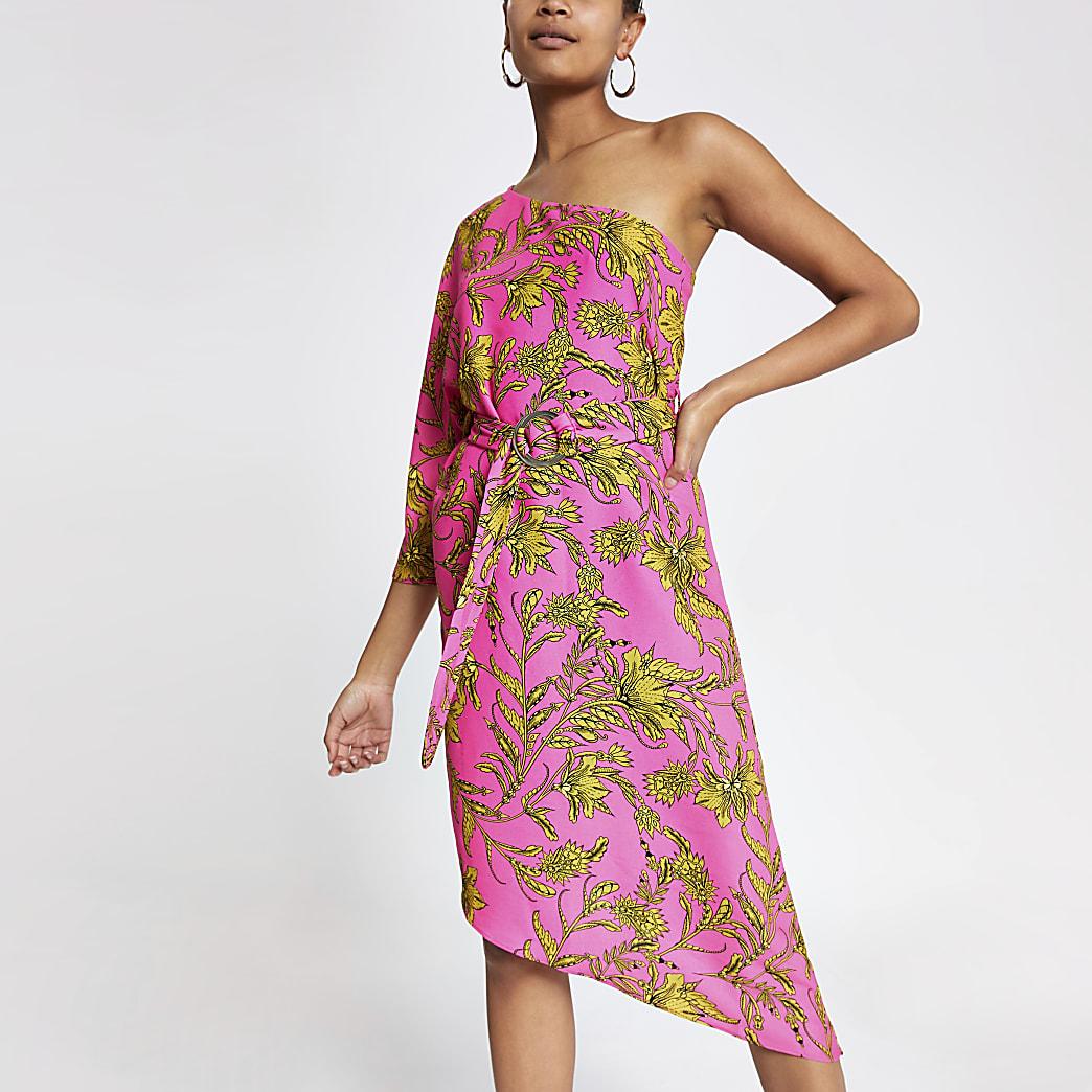 Pink print one shoulder swing dress