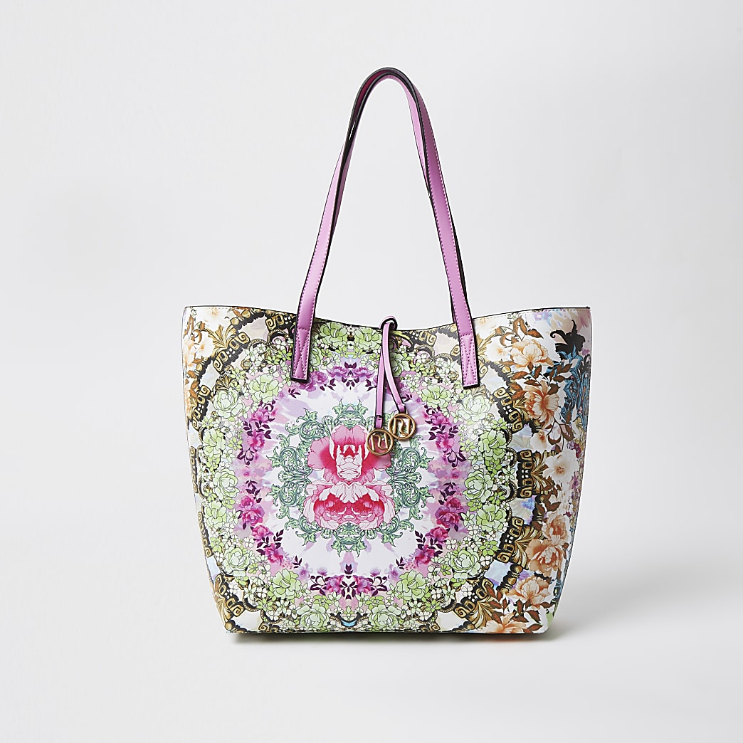 Pink print shopper tote bag