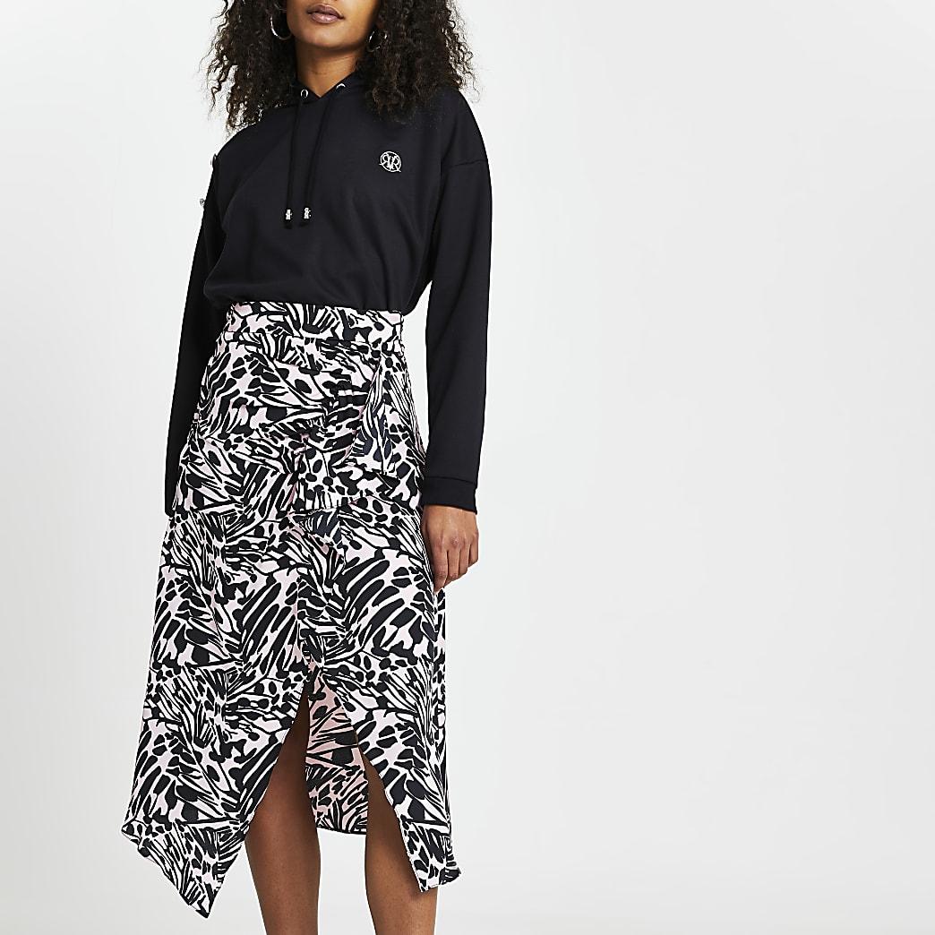 Pink printed asymmetric hem midi skirt