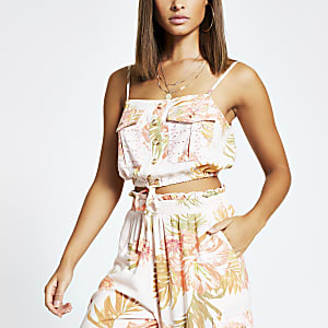Pink printed button front cropped beach top