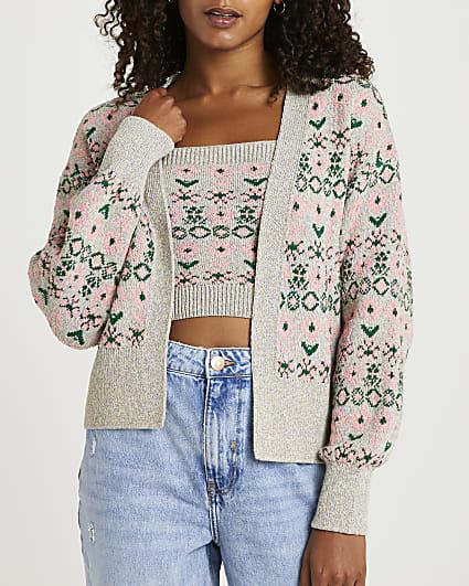 Pink printed cami and cardigan set
