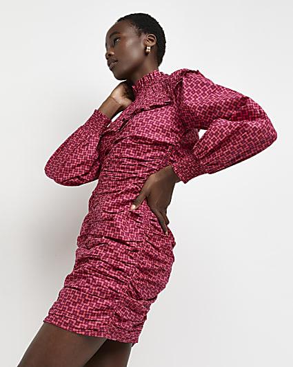 Pink printed high neck mini dress