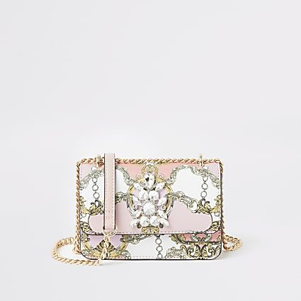 Pink printed jewel embellish cross body bag