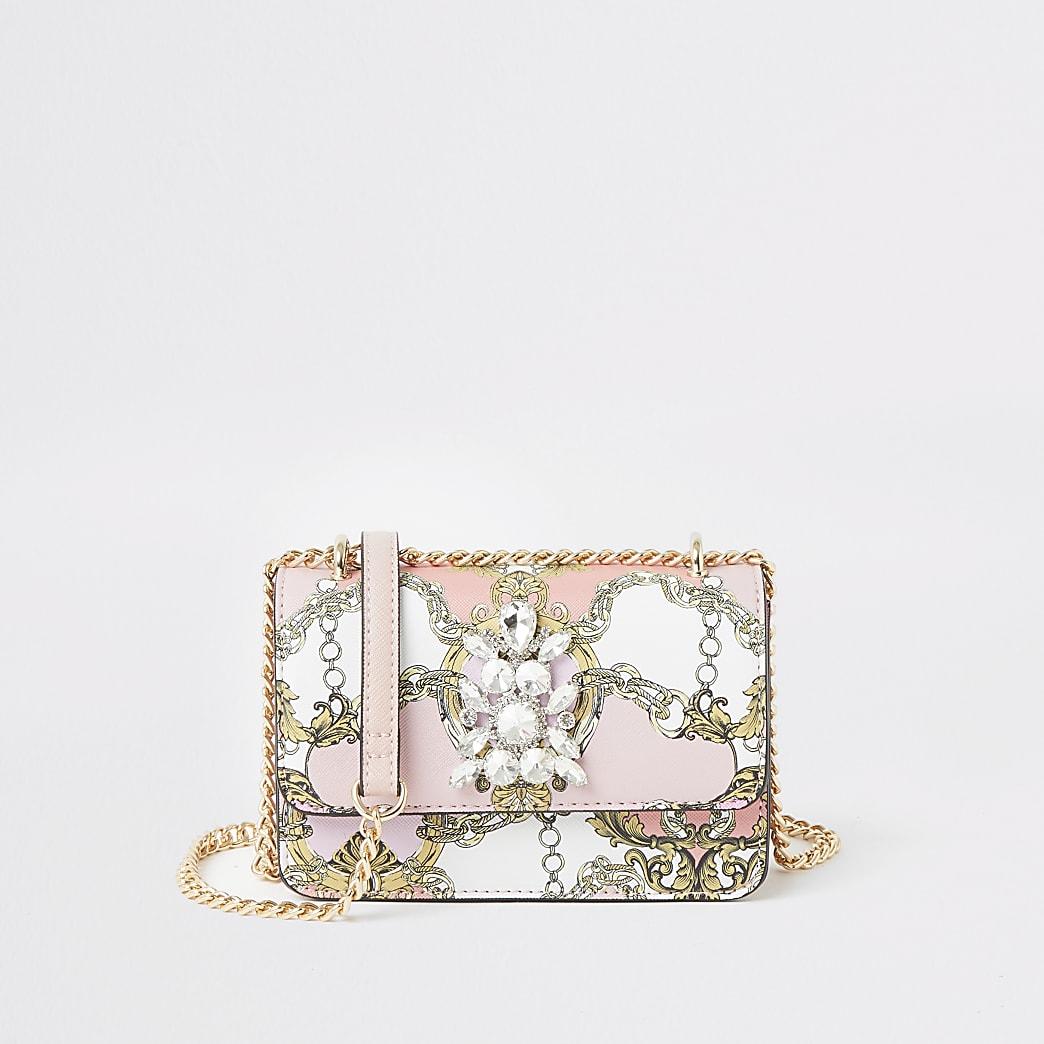 Pink printed jewel embellish cross body bag