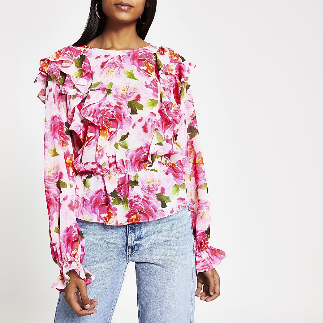 Roze blouse met print en lange mouwen en ruches