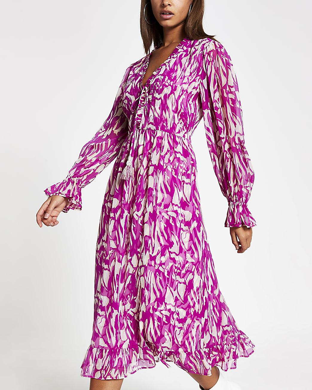 Pink printed long sleeve smock midi dress