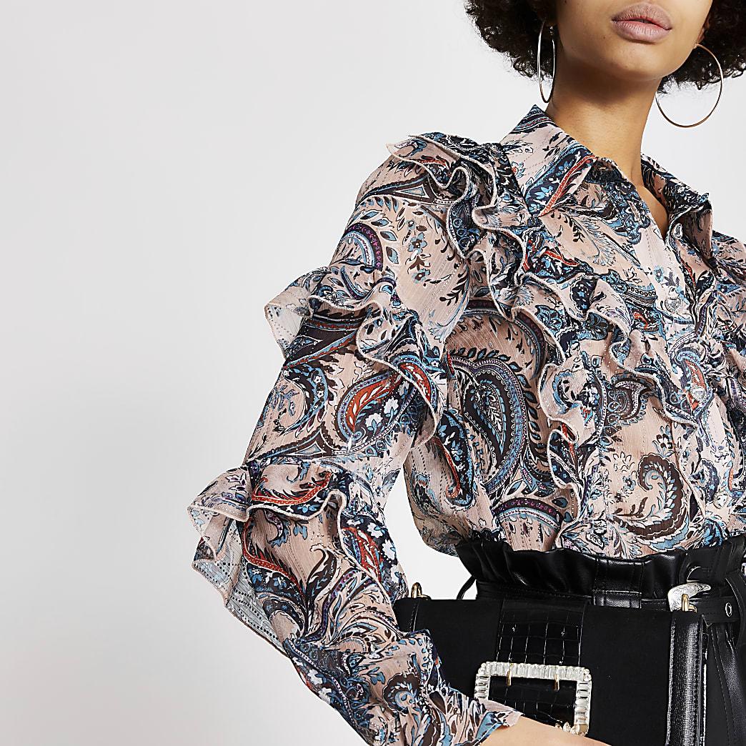Pink printed ruffle long sleeve sheer shirt