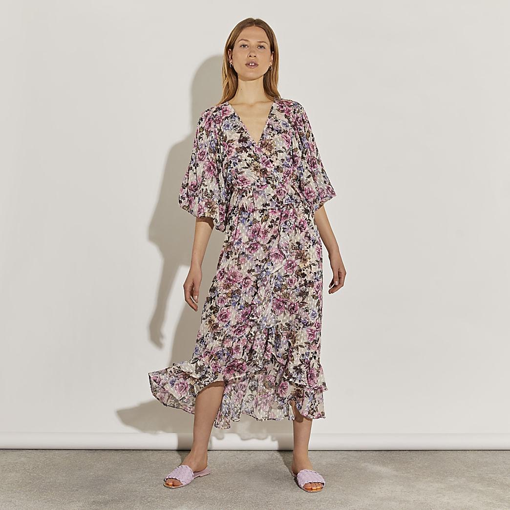 Pink printed ruffle midi dress