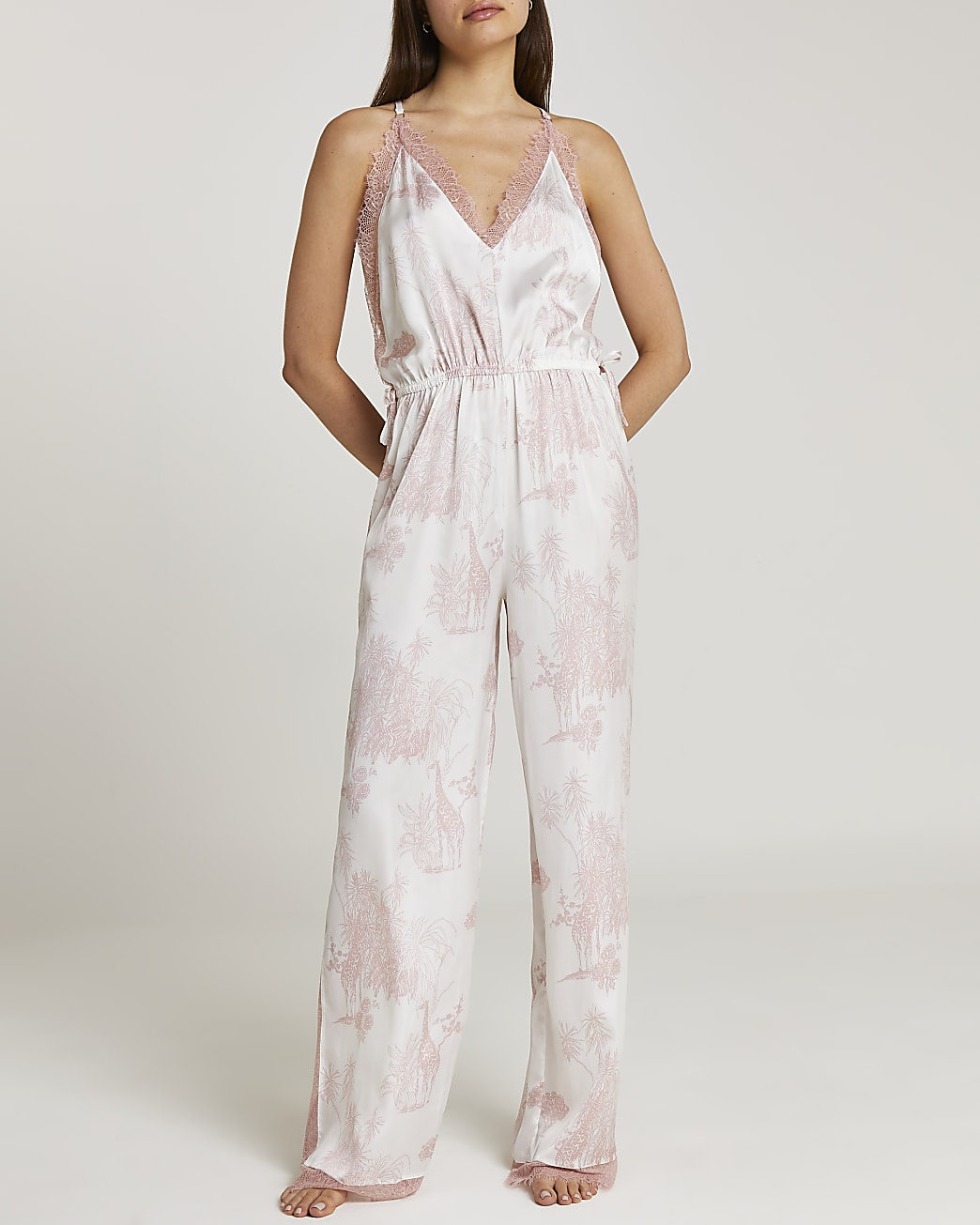 Pink printed satin and lace jumpsuit