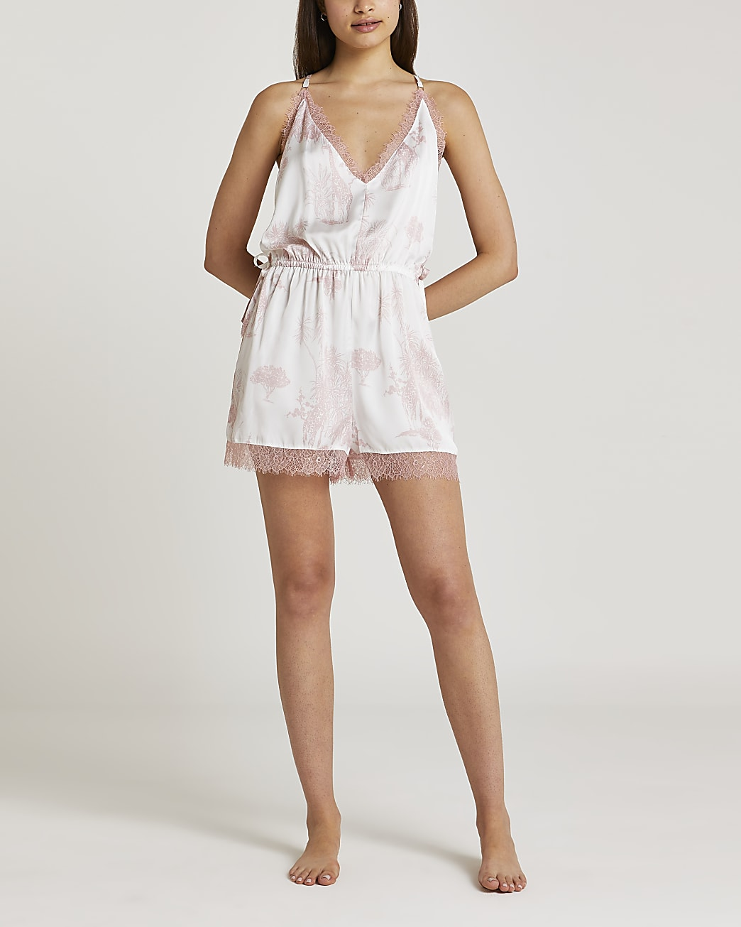 Pink printed satin and lace playsuit