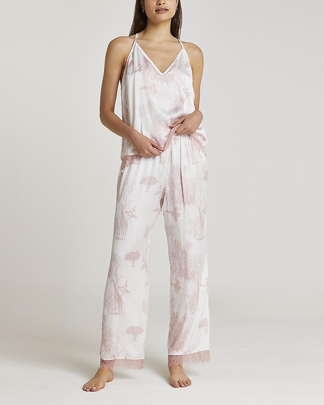 Pink printed satin pyjama set