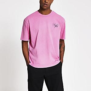 T-shirt slim rose imprimé à manches courtes