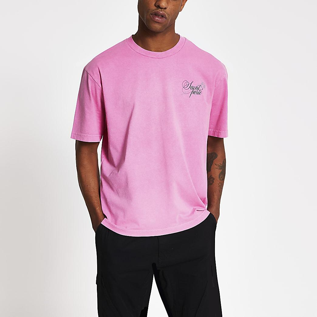 Pink printed short sleeve slim fit T-shirt