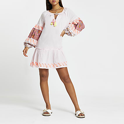 Pink printed smock beach mini dress