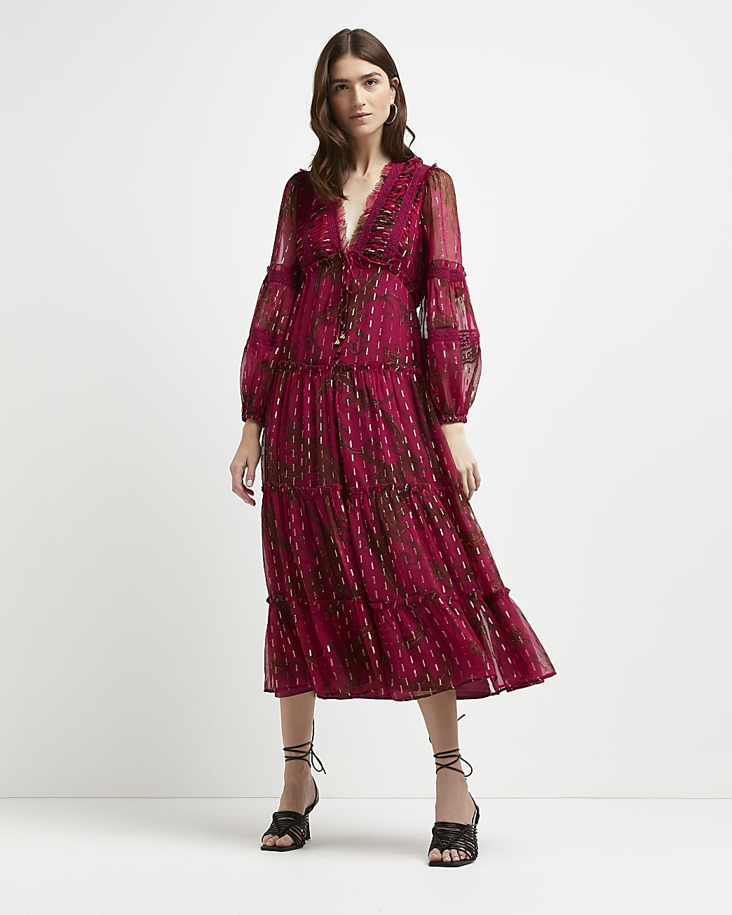 Pink printed tired midi dress