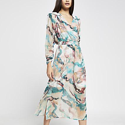 Pink printed wrap long sleeve midi dress