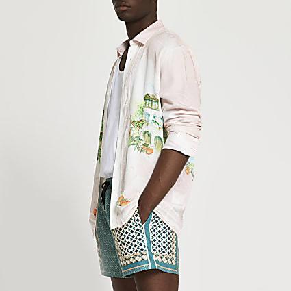 Pink Provence landscape long sleeve shirt