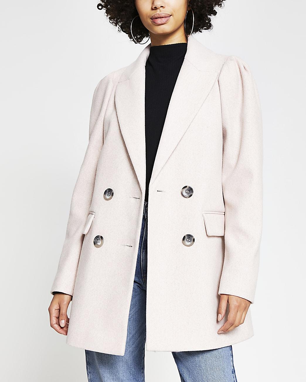 Pink puff sleeve blazer coat