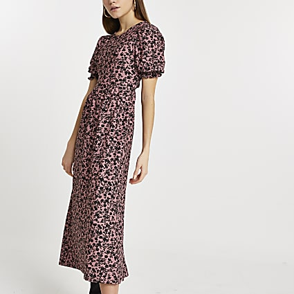Pink puff sleeve cut out back maxi dress
