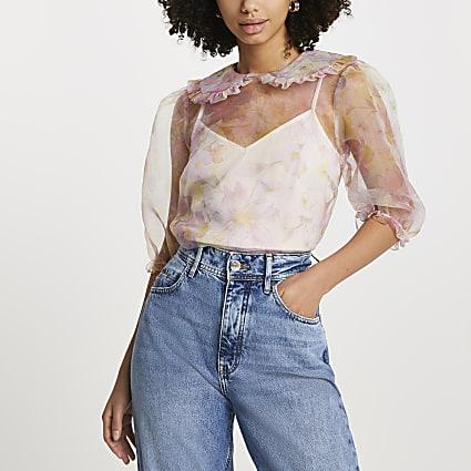 Pink puff sleeve floral collar organza shirt