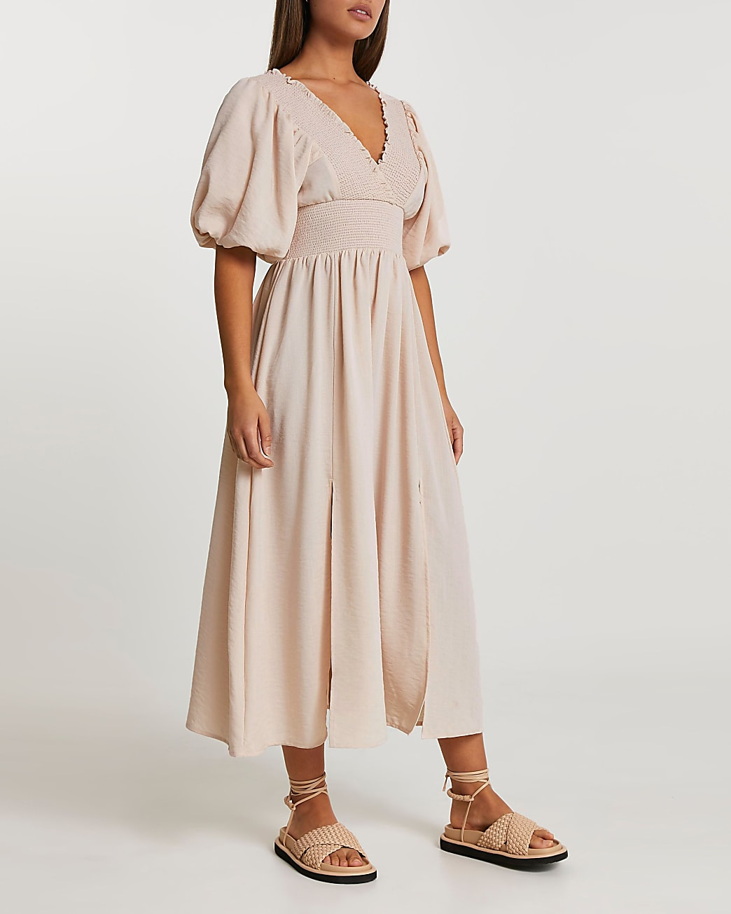 Pink puff sleeve maxi dress