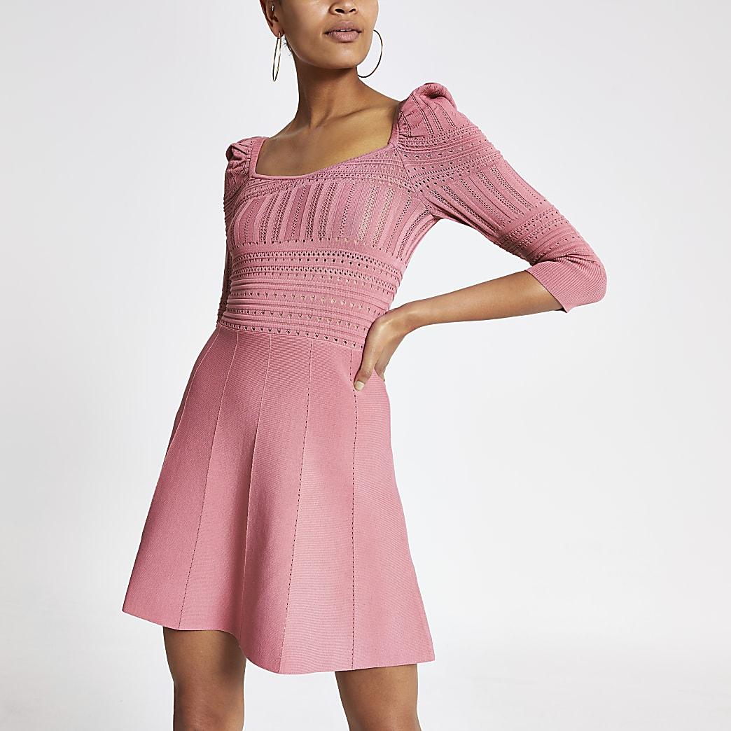Pink puff sleeve pointelle dress