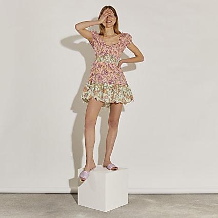 Pink puff sleeve shirred mini dress