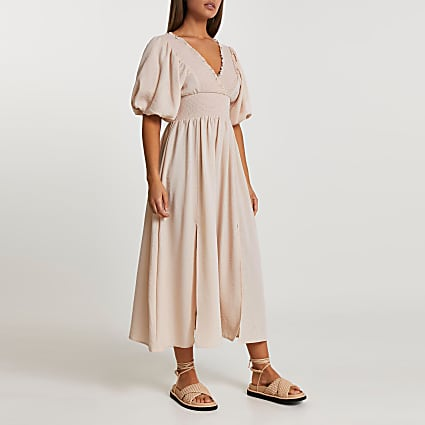 Pink puff sleeve shirred waist maxi dress