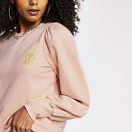 Pink puff sleeve sweatshirt