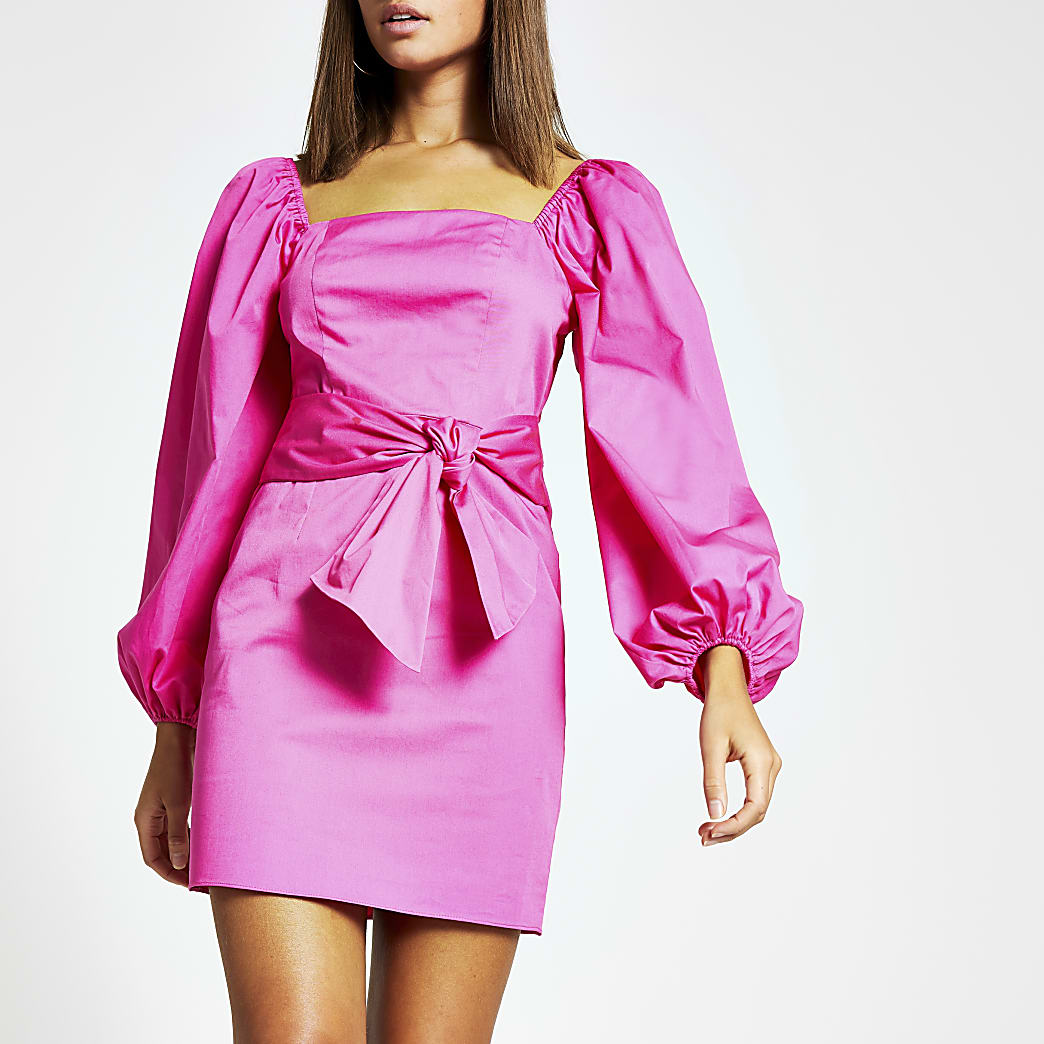 Pink puff sleeve tie waist mini dress