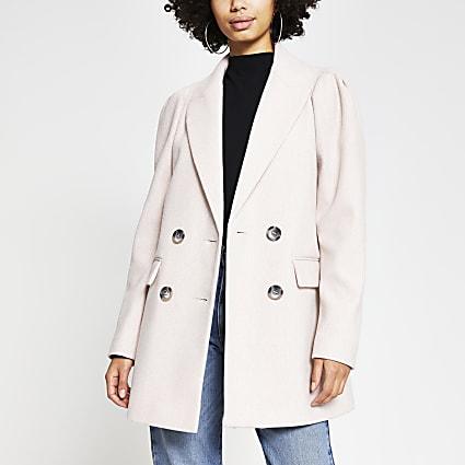Pink puff sleeve wool blazer