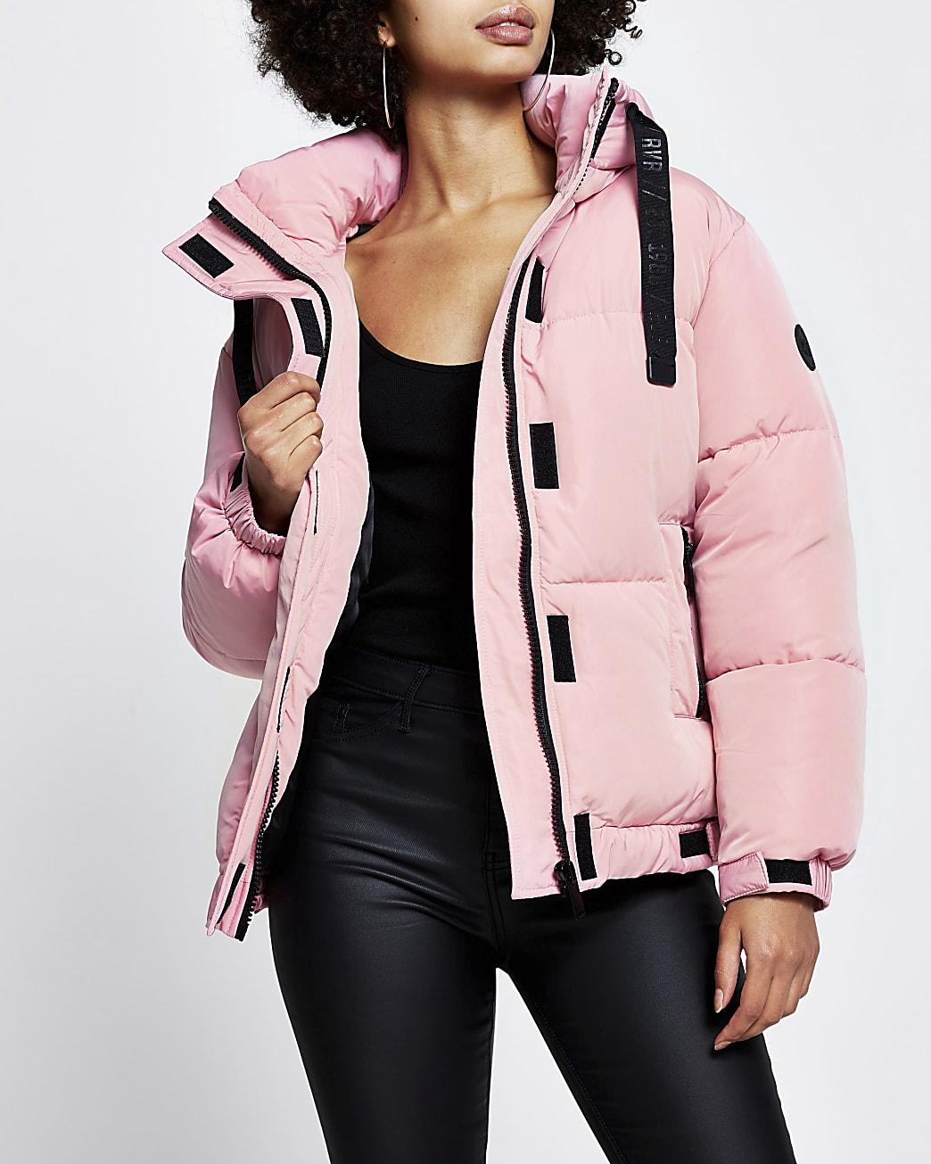 Pink puffer long sleeve jacket