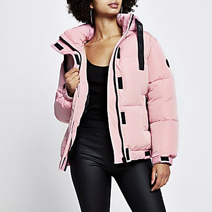 Pink puffer long sleeve jacket