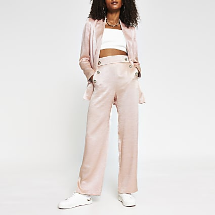 Pink pull on wide leg button detail trousers