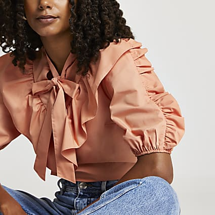 Pink pussybow tie frill detail top