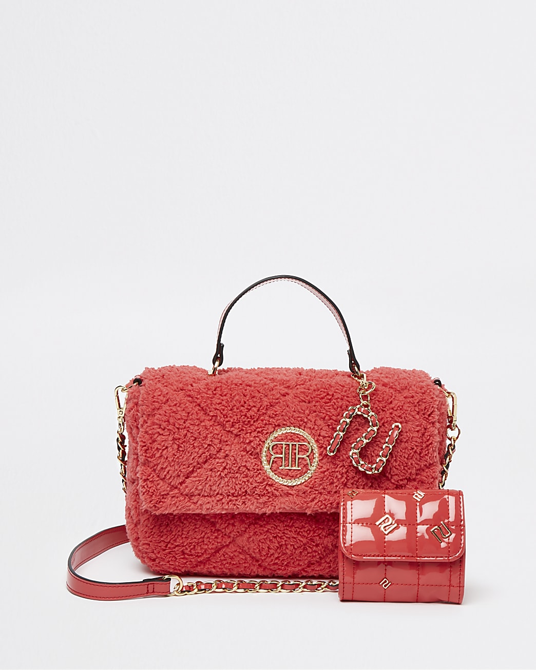 Pink quilted borg cross body bag