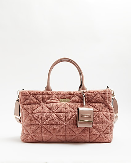 Pink quilted borg tote bag
