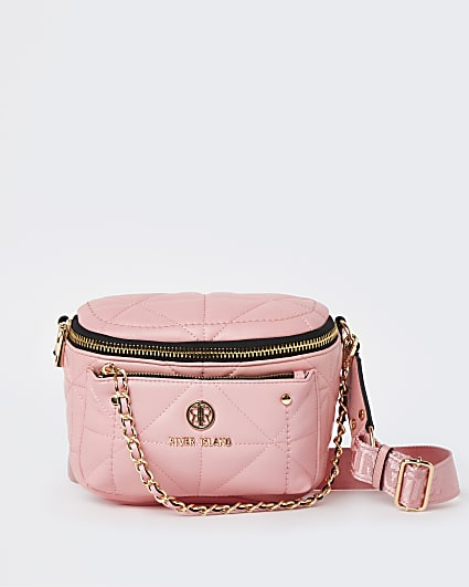Pink quilted chain cross body bag