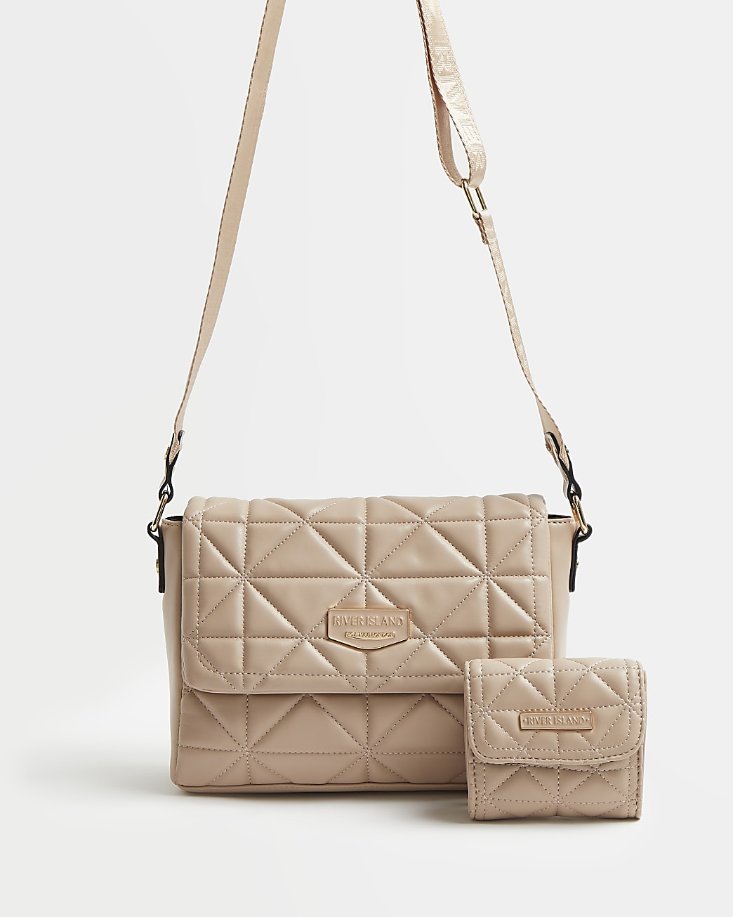Pink quilted cross body bag