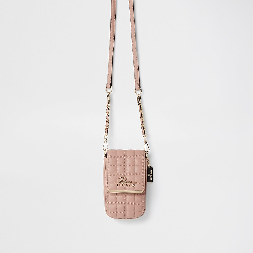 Pink quilted cross body handbag