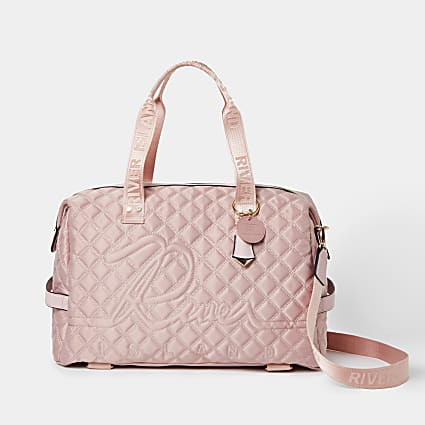 Pink quilted gym bag