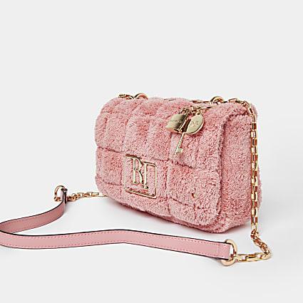 Pink quilted toweling shoulder bag