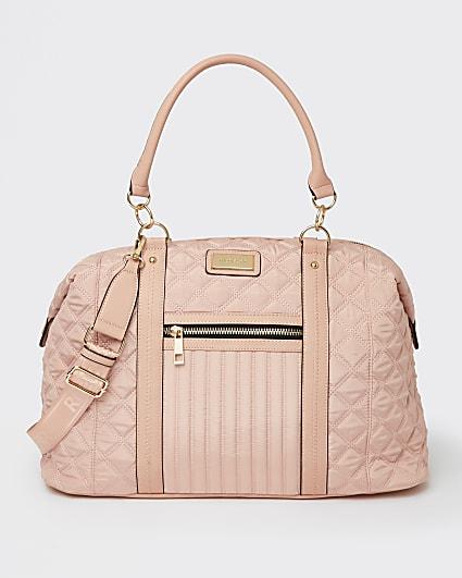 Pink quilted weekend bag