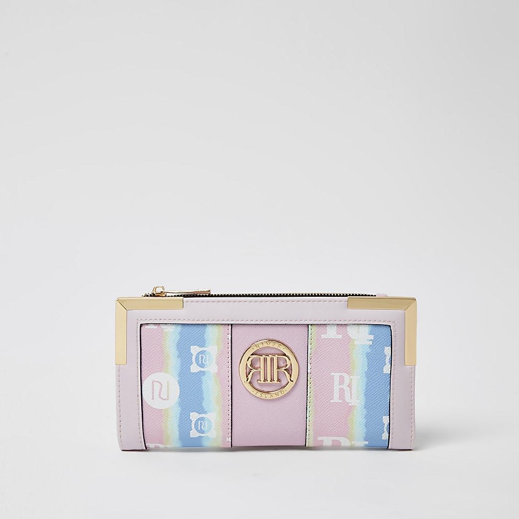 Pink rainbow tie dye purse
