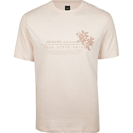 Pink regular fit  floral print t-shirt