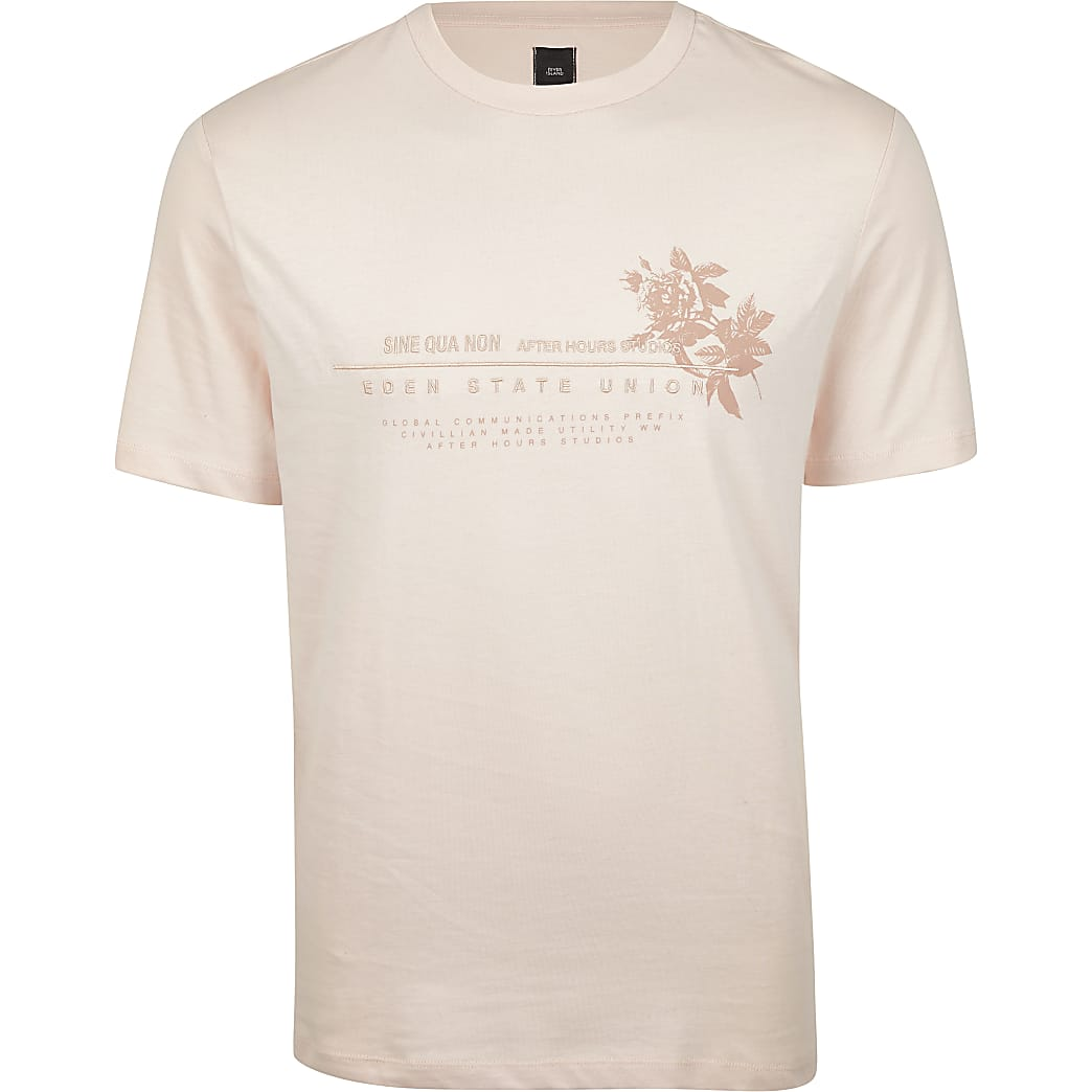 Pink regular fit  floral print t-shirt