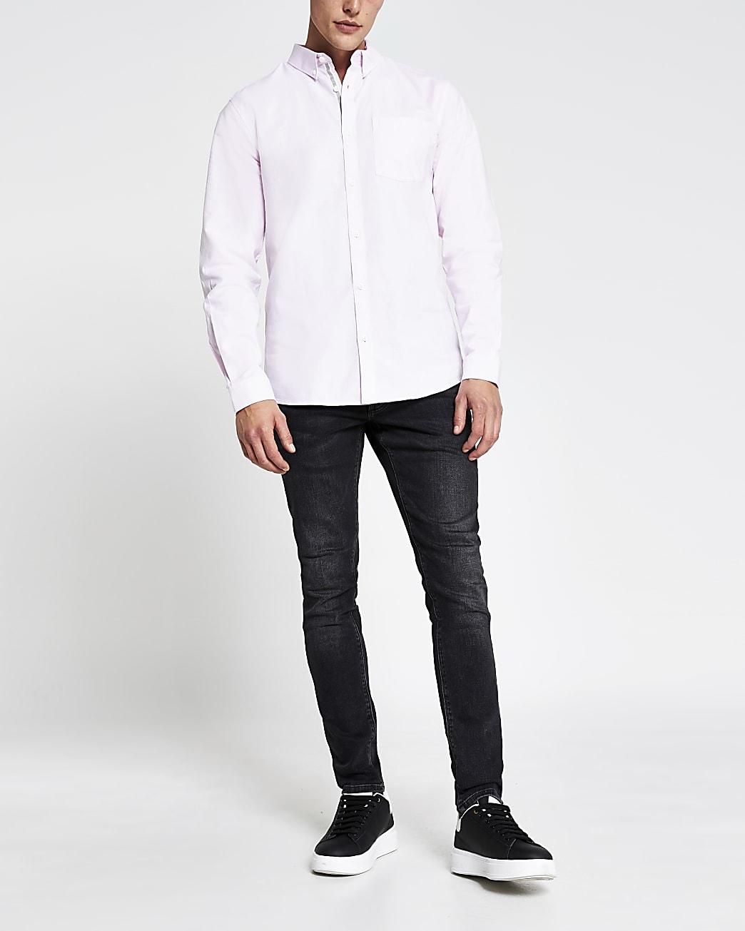 Pink regular fit long sleeve oxford shirt